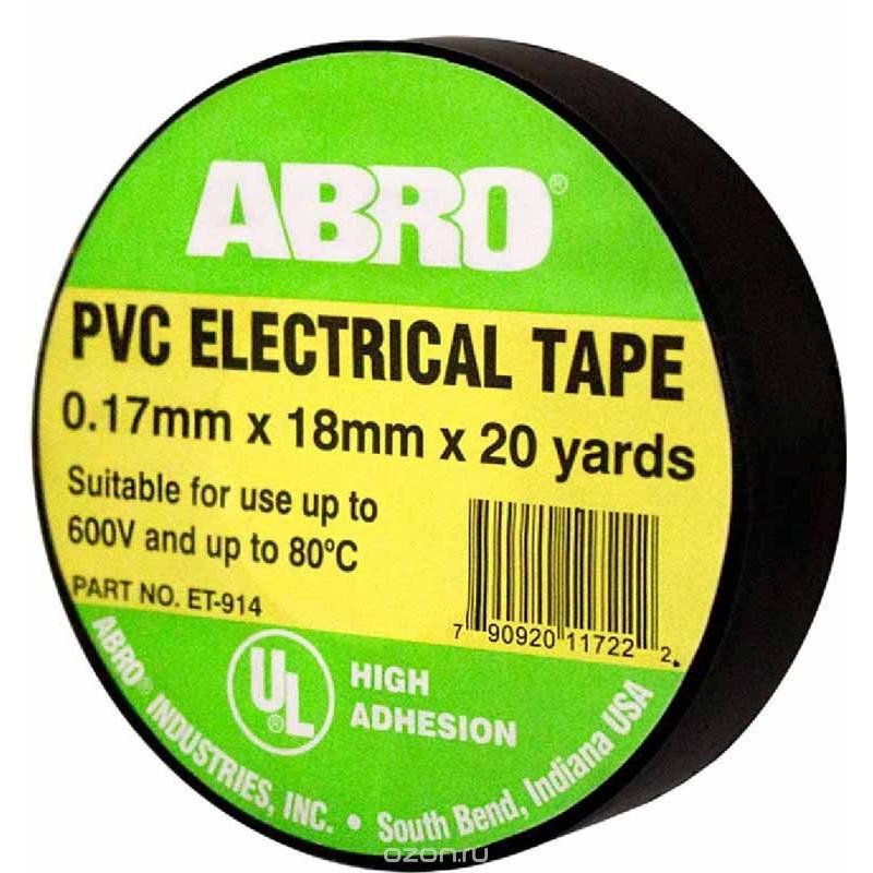 Изолента чёрная термостойкая Abro 80С ET-912