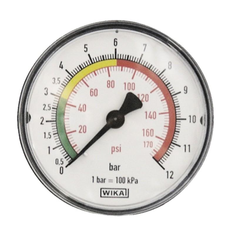 Манометр с цветной шкалой 0-12 бар M1/4, диаметр 63 мм M430/1